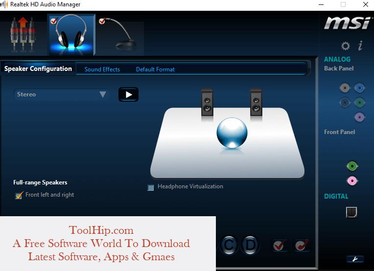 Realtek HD Audio Manager Free Download